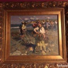 Arte: OLEO EUSTAQUIO SEGRELLES 45X55. TIÍTULO MANUSCRITO Y FIRMA ADICIONAL EN TRASERA. PLAYA DE VALENCIA. Lote 151159378