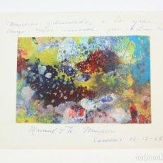 Arte: MANUEL VICENTE DE MÚJICA, PINTURA ABSTRACTA SOBRE CARTULINA, 1968, DEDICADO A LINA FONT, CARACAS.. Lote 151221542