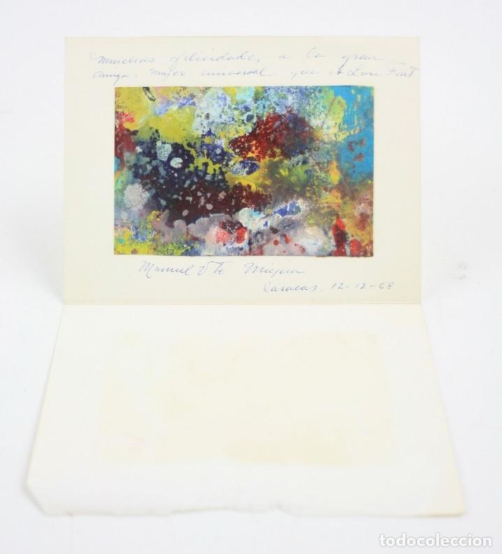 Arte: Manuel Vicente de Mújica, pintura abstracta sobre cartulina, 1968, dedicado a Lina Font, Caracas. - Foto 2 - 151221542