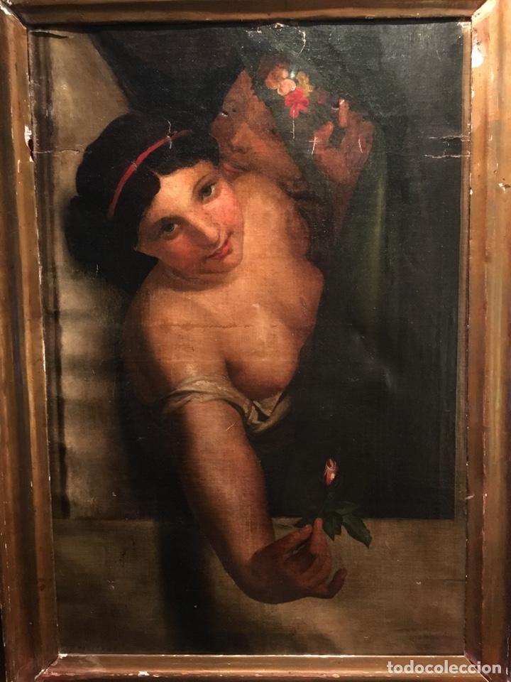 Arte: Óleo sobre lienzo. Mujer en la ventana. Escuela europea XIX - Foto 3 - 151326557