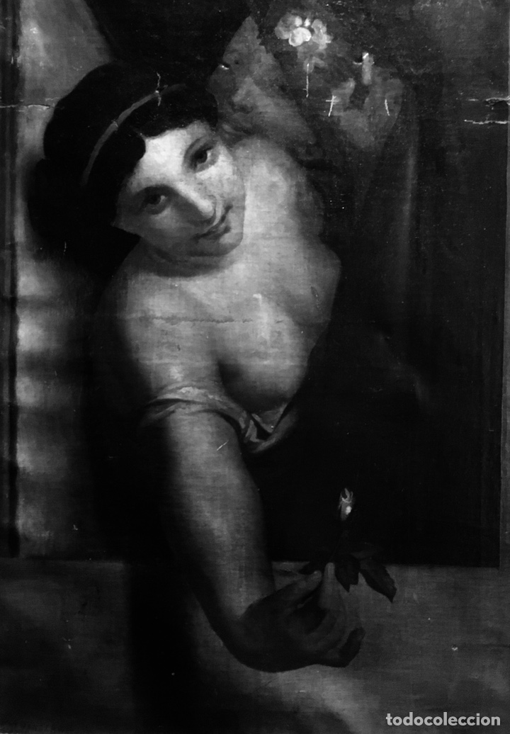 Arte: Óleo sobre lienzo. Mujer en la ventana. Escuela europea XIX - Foto 4 - 151326557