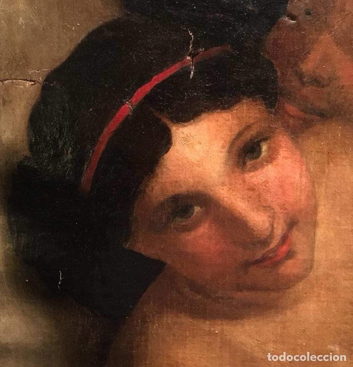 Arte: Óleo sobre lienzo. Mujer en la ventana. Escuela europea XIX - Foto 6 - 151326557