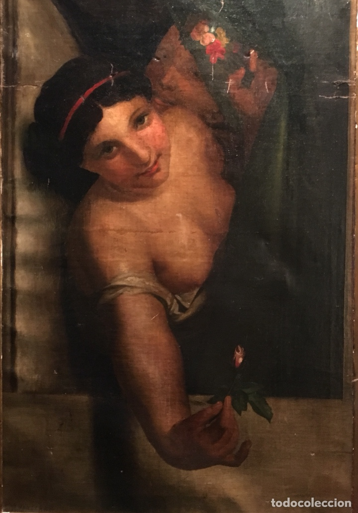 Arte: Óleo sobre lienzo. Mujer en la ventana. Escuela europea XIX - Foto 8 - 151326557