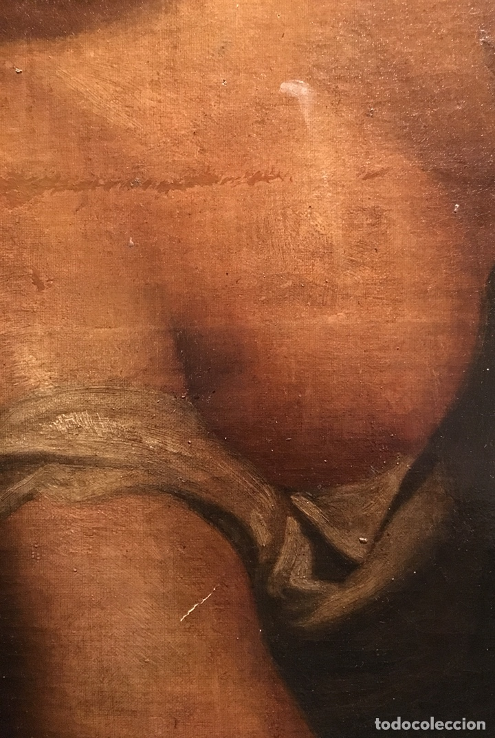 Arte: Óleo sobre lienzo. Mujer en la ventana. Escuela europea XIX - Foto 9 - 151326557
