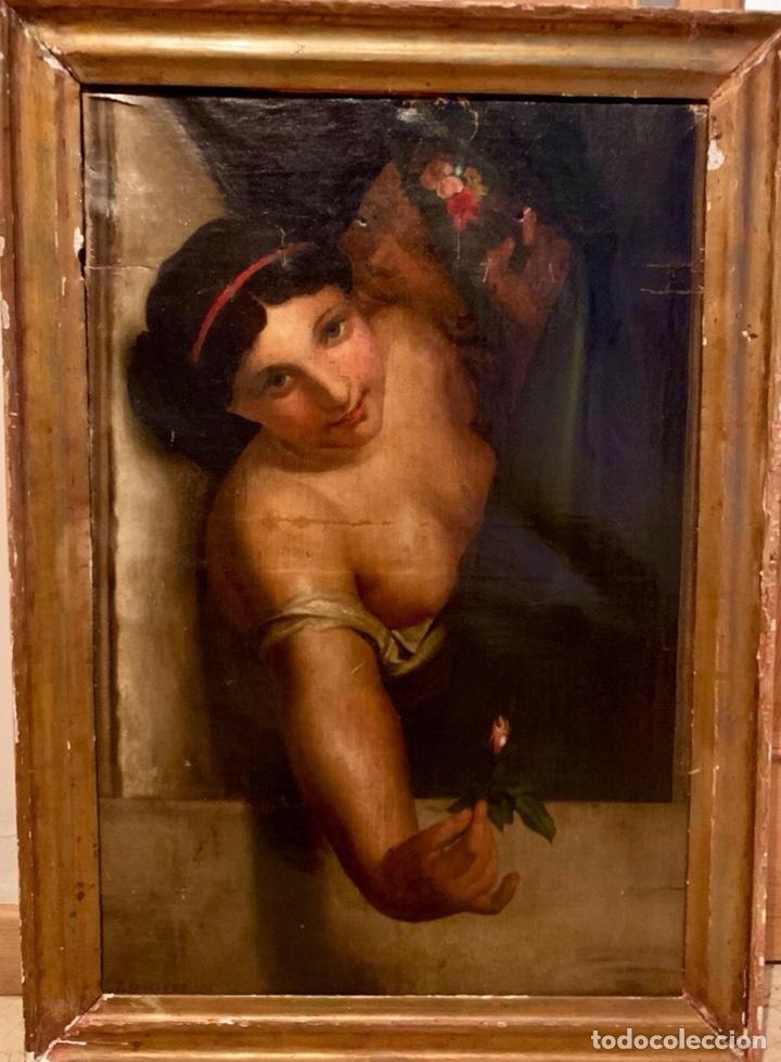 ÓLEO SOBRE LIENZO. MUJER EN LA VENTANA. ESCUELA EUROPEA XIX (Arte - Pintura - Pintura al Óleo Antigua siglo XVIII)