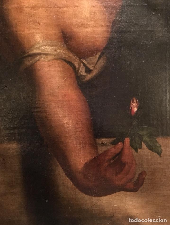 Arte: Óleo sobre lienzo. Mujer en la ventana. Escuela europea XIX - Foto 10 - 151326557