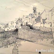 Arte: DIBUJO A TINTA DE - PEÑISCOLA - AÑO 1978 - JOSEP MARFA GUARRO - BARCELONA -. Lote 151340118