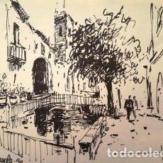 Arte: DIBUJO A TINTA DE - PERAMOLA - AÑO 1990 - JOSEP MARFA GUARRO - BARCELONA -. Lote 151340198