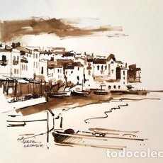 Arte: PINTURA DIBUJO - CADAQUES - DE - JOSEP MARFA GUARRO - BARCELONA -. Lote 151341806