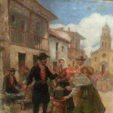 Arte: CUADRO ANTIGUO,ÓLEO SOBRE TABLA COSTUMBRISTA ALVAREZ ARMESTO PRIMITIVO- PUEBLO MARAGATO. Lote 151354362