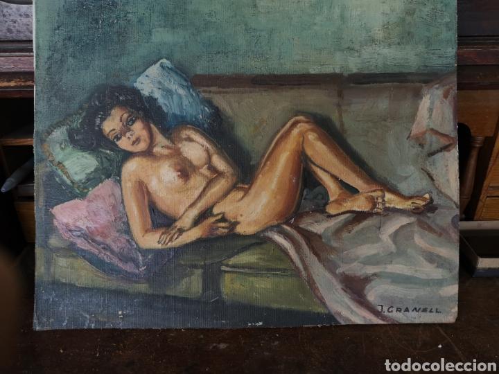 J. GRANELL, OLEO SOBRE LIENZO PEGADO A TABLA, DESNUDO FEMENINO, 37X29CM, FIRMADO (Arte - Pintura - Pintura al Óleo Contemporánea )