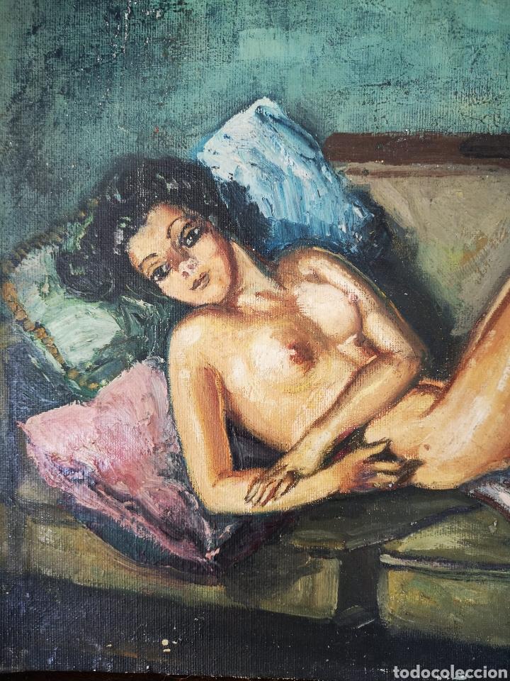 Arte: J. Granell, oleo sobre lienzo pegado a tabla, desnudo femenino, 37x29cm, firmado - Foto 2 - 151382541