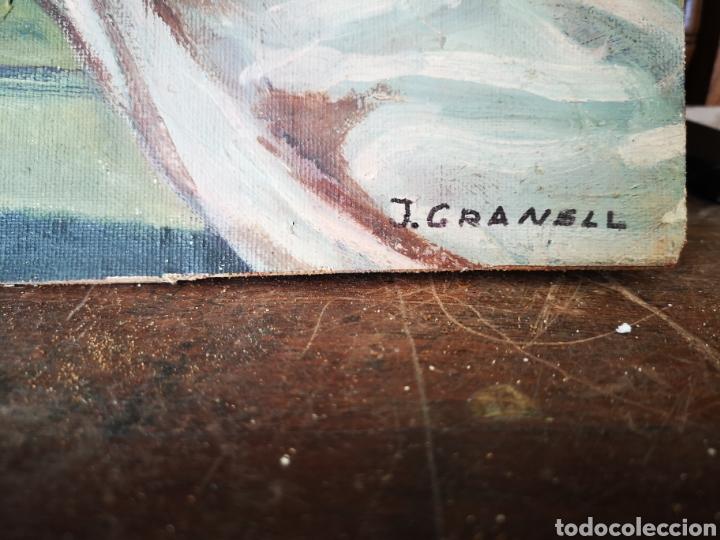 Arte: J. Granell, oleo sobre lienzo pegado a tabla, desnudo femenino, 37x29cm, firmado - Foto 3 - 151382541