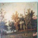 Arte: PAISAJE PINTADO AL OLEO SOBRE LIENZO, S.XIX, PEGADO A TABLA, CON ALGUNAS FALTAS, FIRMADO ILEGIBLE. Lote 151383148