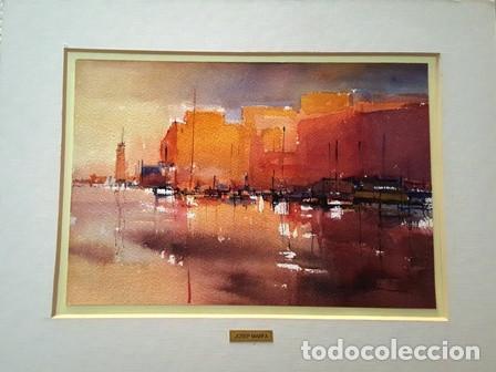 PINTURA ACUARELA - PORT DE TARDA - DE - JOSEP MARFA GUARRO - BARCELONA - (Arte - Pintura Directa del Autor)