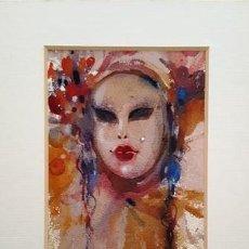 Arte: PINTURA ACUARELA - MASCARA - VENECIANA - AÑO 1990 - DE - JOSEP MARFA GUARRO - BARCELONA -. Lote 151507386