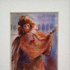 Arte: PINTURA ACUARELA - MASCARA - VENECIANA - AÑO 1990 - DE - JOSEP MARFA GUARRO - BARCELONA -. Lote 151507598