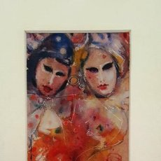 Arte: PINTURA ACUARELA - MASCARA - VENECIANA - AÑO 1990 - DE - JOSEP MARFA GUARRO - BARCELONA -. Lote 151507702