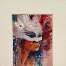 Arte: PINTURA ACUARELA - MASCARA - VENECIANA - AÑO 1990 - DE - JOSEP MARFA GUARRO - BARCELONA -. Lote 151507802