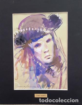 PINTURA ACUARELA - MASCARA - VENECIANA - AÑO 1990 - DE - JOSEP MARFA GUARRO - BARCELONA - (Arte - Pintura Directa del Autor)