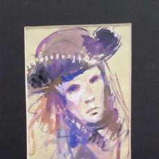 Arte: PINTURA ACUARELA - MASCARA - VENECIANA - AÑO 1990 - DE - JOSEP MARFA GUARRO - BARCELONA -. Lote 151508274