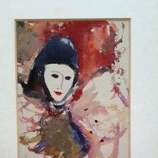 Arte: PINTURA ACUARELA - MASCARA - VENECIANA - AÑO 1990 - DE - JOSEP MARFA GUARRO - BARCELONA -. Lote 151508374