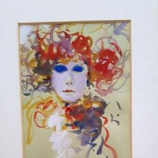 Arte: PINTURA ACUARELA - MASCARA - VENECIANA - AÑO 1990 - DE - JOSEP MARFA GUARRO - BARCELONA -. Lote 151508482