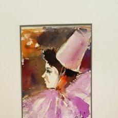 Arte: PINTURA ACUARELA - MASCARA - VENECIANA - AÑO 1990 - DE - JOSEP MARFA GUARRO - BARCELONA -. Lote 151508662