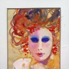 Arte: PINTURA ACUARELA - MASCARA - VENECIANA - AÑO 1990 - DE - JOSEP MARFA GUARRO - BARCELONA -. Lote 151508754