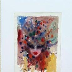 Arte: PINTURA ACUARELA - MASCARA - VENECIANA - AÑO 1990 - DE - JOSEP MARFA GUARRO - BARCELONA -. Lote 151508822