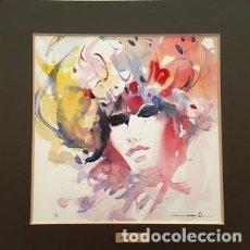 Arte: PINTURA ACUARELA - MASCARA - VENECIANA - AÑO 1990 - DE - JOSEP MARFA GUARRO - BARCELONA -. Lote 151509034
