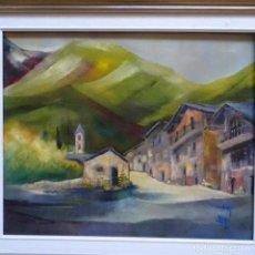 Arte: ÓLEO SOBRE TELA.CANILLO(ANDORRA).FIRMA ILEGIBLE.1995. Lote 151542050