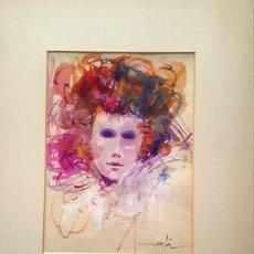 Arte: PINTURA ACUARELA - MASCARA - VENECIANA - AÑO 1990 - DE - JOSEP MARFA GUARRO - BARCELONA -. Lote 151562478