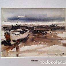Arte: PINTURA ACUARELA - BARQUES - DE - JOSEP MARFA GUARRO - BARCELONA -. Lote 151562838