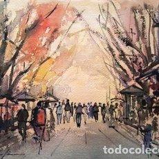 Arte: PINTURA ACUARELA - RAMBLAS DE BARCELONA - DE - JOSEP MARFA GUARRO - BARCELONA -. Lote 151607750