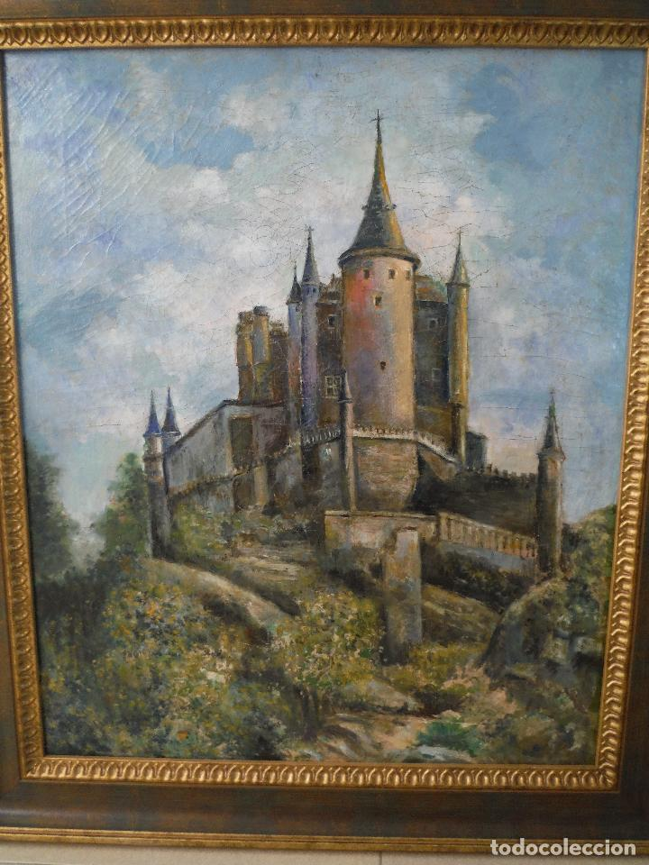 CUADRO OLEO ANTIGUO ALCAZAR DE SEGOVIA (Arte - Pintura - Pintura al Óleo Antigua sin fecha definida)