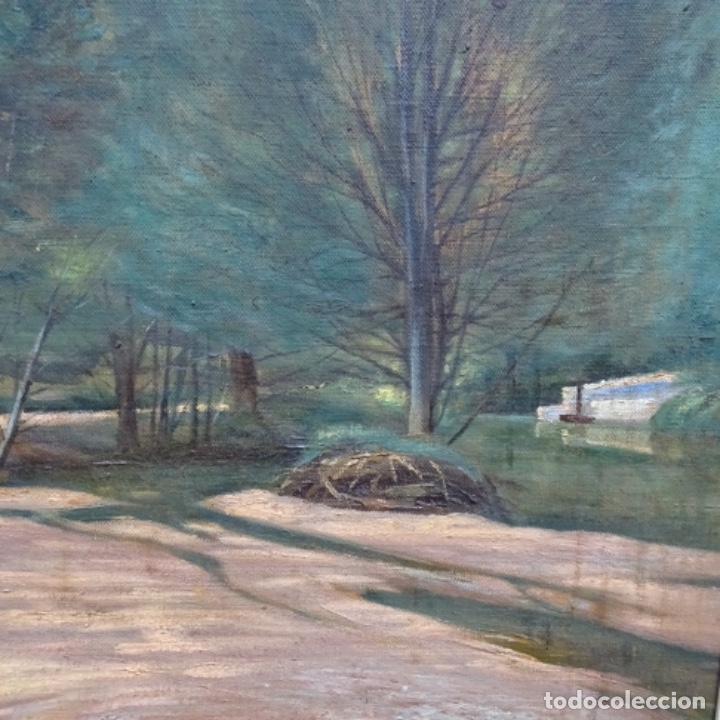 """Arte: Gran óleo sobre tela con firma ilegible.escrito en la trasera""""de Sant Hilari"""" de sacalm? - Foto 3 - 151656746"""
