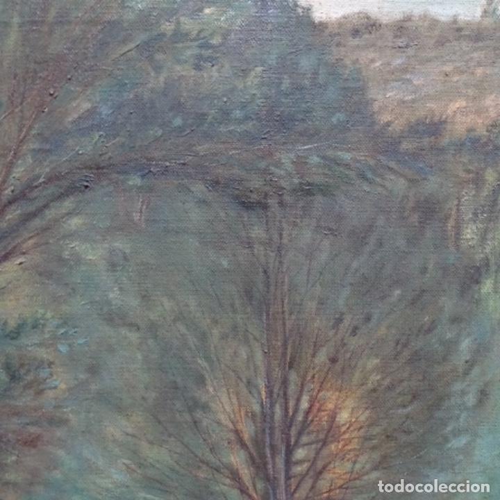 """Arte: Gran óleo sobre tela con firma ilegible.escrito en la trasera""""de Sant Hilari"""" de sacalm? - Foto 4 - 151656746"""