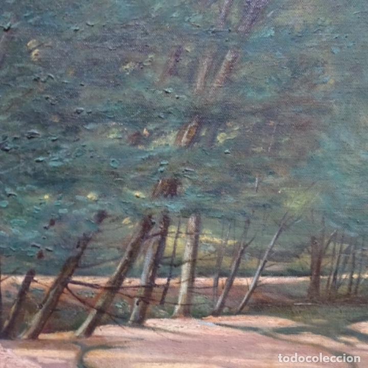 """Arte: Gran óleo sobre tela con firma ilegible.escrito en la trasera""""de Sant Hilari"""" de sacalm? - Foto 5 - 151656746"""