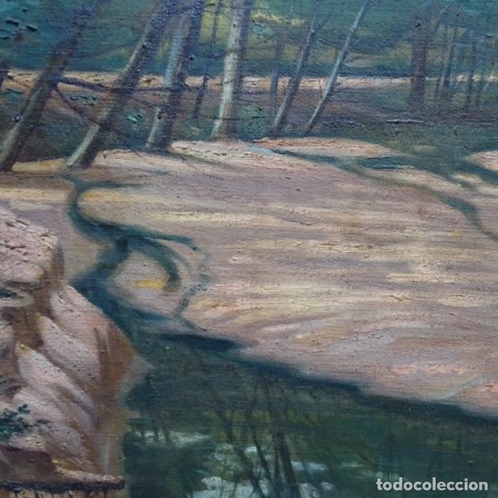 """Arte: Gran óleo sobre tela con firma ilegible.escrito en la trasera""""de Sant Hilari"""" de sacalm? - Foto 6 - 151656746"""