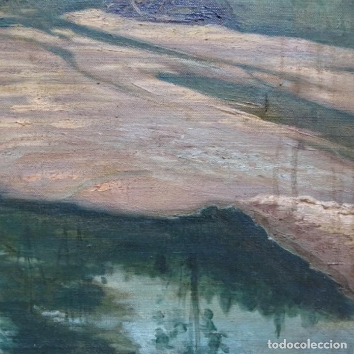 """Arte: Gran óleo sobre tela con firma ilegible.escrito en la trasera""""de Sant Hilari"""" de sacalm? - Foto 7 - 151656746"""