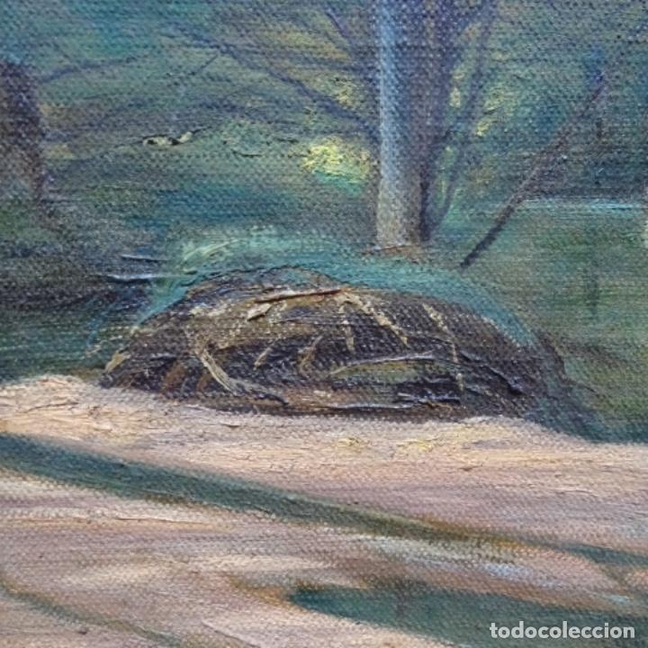 """Arte: Gran óleo sobre tela con firma ilegible.escrito en la trasera""""de Sant Hilari"""" de sacalm? - Foto 9 - 151656746"""