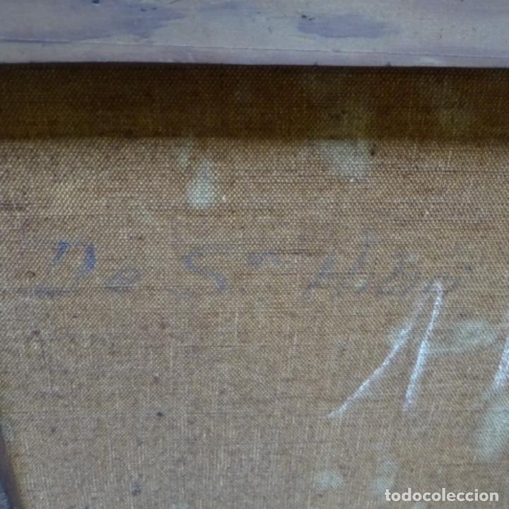 """Arte: Gran óleo sobre tela con firma ilegible.escrito en la trasera""""de Sant Hilari"""" de sacalm? - Foto 11 - 151656746"""