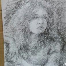 Arte: DIBUJO CHICA ESPERANDO ORIGINAL. Lote 151788110