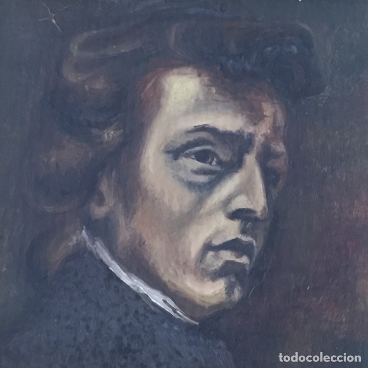 Arte: Antiguo retrato,óleo sobre tabla firmado Tonia.marco 22x22cm sin marco 12x12cm - Foto 2 - 151819729