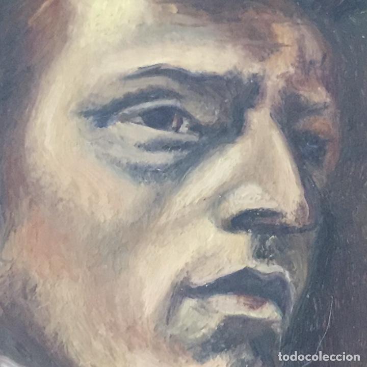 Arte: Antiguo retrato,óleo sobre tabla firmado Tonia.marco 22x22cm sin marco 12x12cm - Foto 3 - 151819729