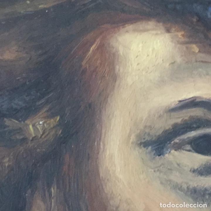 Arte: Antiguo retrato,óleo sobre tabla firmado Tonia.marco 22x22cm sin marco 12x12cm - Foto 4 - 151819729