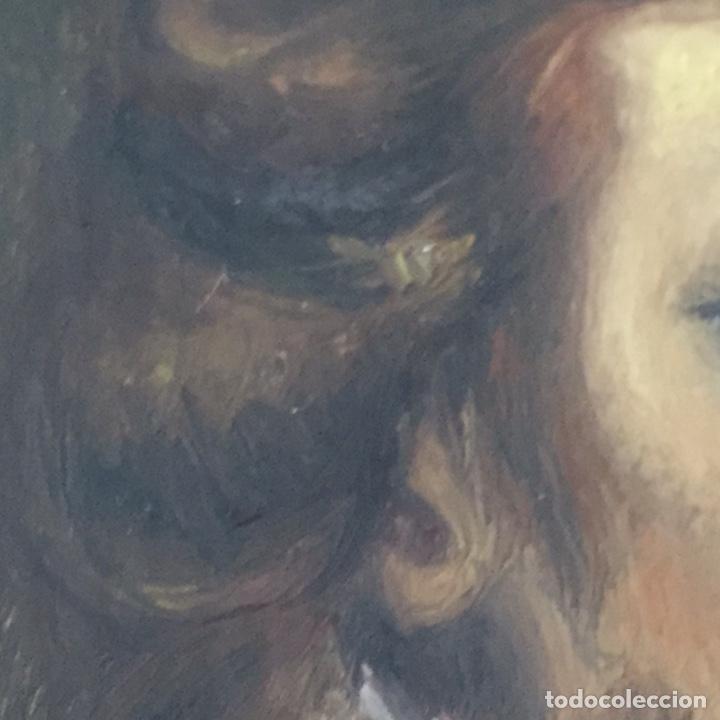 Arte: Antiguo retrato,óleo sobre tabla firmado Tonia.marco 22x22cm sin marco 12x12cm - Foto 5 - 151819729