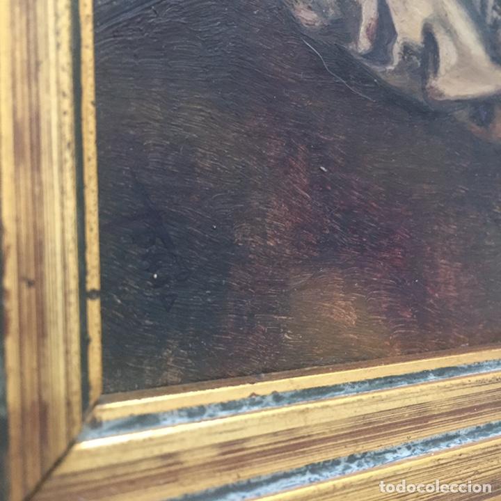 Arte: Antiguo retrato,óleo sobre tabla firmado Tonia.marco 22x22cm sin marco 12x12cm - Foto 6 - 151819729
