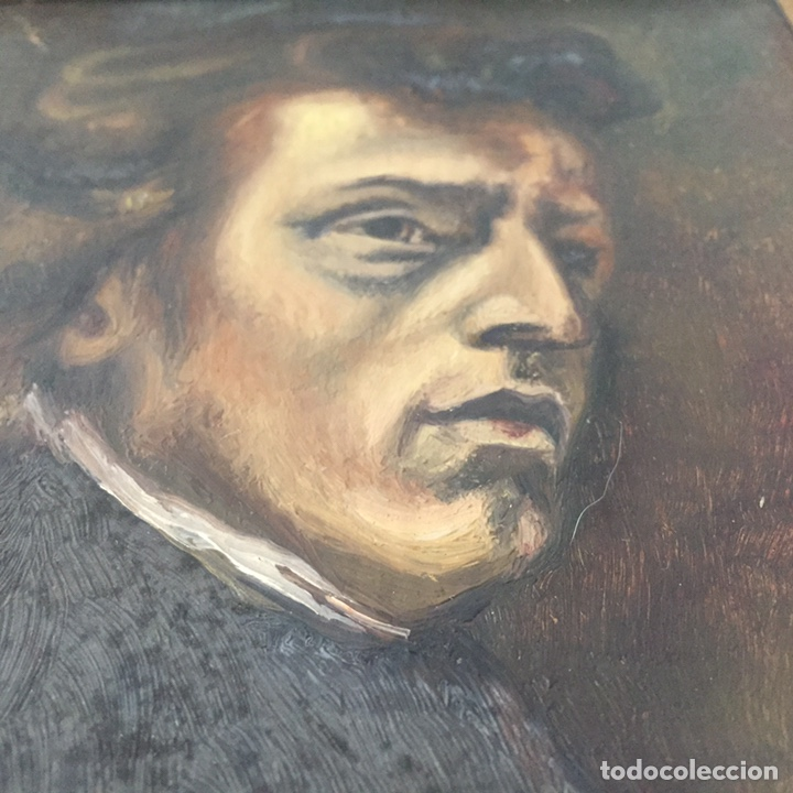 Arte: Antiguo retrato,óleo sobre tabla firmado Tonia.marco 22x22cm sin marco 12x12cm - Foto 7 - 151819729